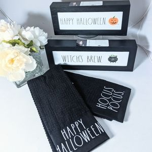 Rae Dunn Happy Halloween Witch's Brew Signs Towel
